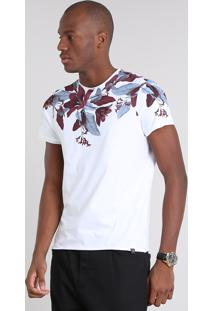 Camiseta Masculina Slim Fit Com Estampa Floral Manga Curta Gola Careca Branca