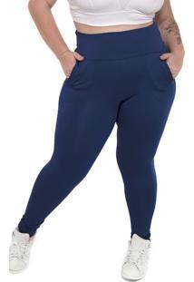 Calça Legging Plus Size Peluciada Azul