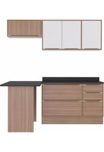 Cozinha Completa 5 Peças 6 Portas E Rodapés Calábria Multimóveis Nogueira/Branco Texturizado