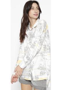 Camisa Floral Com Botãµes - Off White & Cinzacalvin Klein