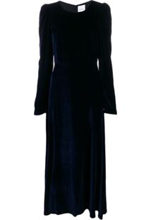 Black Coral Vestido De Veludo Com Ombros Estruturados - Azul
