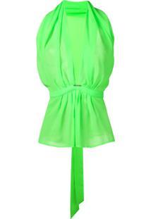 Styland Blusa Decote Em V Profundo - Verde