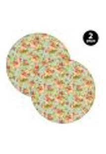 Capa Para Sousplat Mdecore Floral Verde 2Pçs