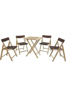Jogo De Mesa Com Cadeiras Potenza- Natural & Marrom-Tramontina