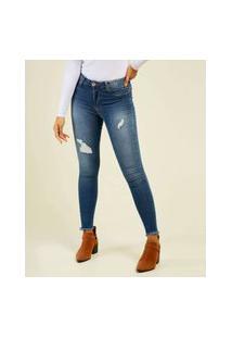 Calça Jeans Puídos Skinny Feminina Sawary