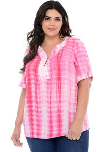 Blusa Plus Size Forma Rara Luna Tie Dye Rosa - Rosa - Feminino - Dafiti