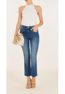 Calça Iódice Reta Cós Alto Bordado Industrial Jeans Feminina - Feminino