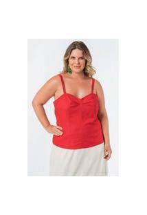 Regata Lisa Linho Plus Size Vermelho