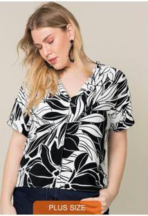 Camisa Tecido Estampado Preto