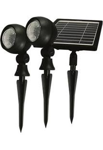 Refletor Taschibra Prime Led Com Painel Solar 6500 K - Preto