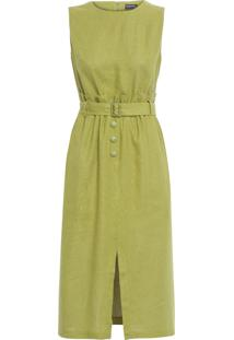 Vestido Midi Cinto - Verde