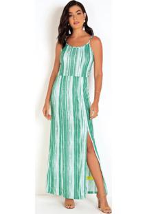 Vestido De Alcinhas Estampado Verde Com Fenda