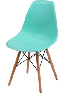 Cadeira Eames Polipropileno Verde Tifanny Base Madeira - 35819 Sun House