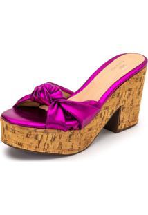 Sandália Salto Alto Pink Metalizado - Kanui