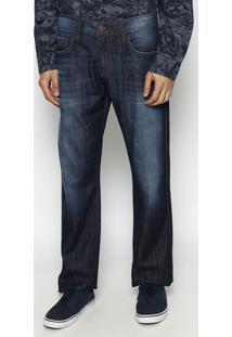 Jeans Paul Regular Reto Com Bigodes- Azul Escuro- Foforum