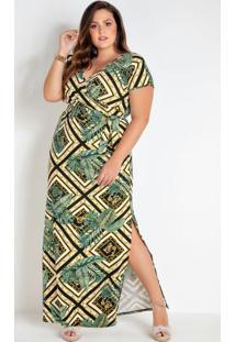 Vestido Plus Size Folhagem E Geométrico