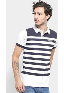 Camisa Polo Jimmy'Z Listrada Masculina - Masculino-Azul