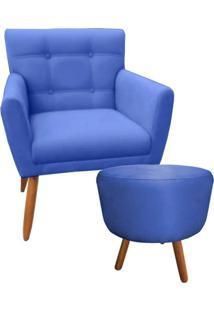 Combo Poltrona Decorativa Onix Mais Puff Redondo Suede Azul Marinho - Ds Móveis - Kanui
