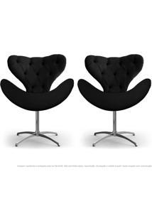 Kit De 02 Cadeiras Decorativas Poltronas Egg Com Capitonê Preta Com Base Giratória