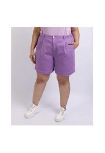 Short Feminino Mindset Plus Size De Sarja Slouchy Cintura Alta Com Bolsos Lilás
