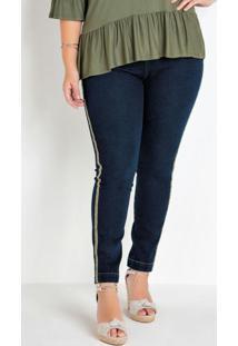 Calça Jeans Skinny Plus Size Azul Com Detalhe