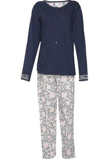 Pijama Pzama Estampado Azul-Marinho/Off-White