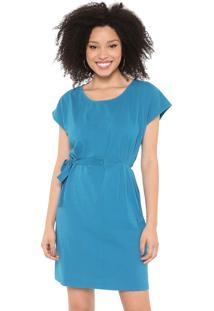 Vestido Cantão Curto Amarração Azul