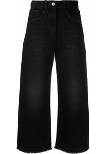 Patrizia Pepe Calça Jeans Cropped Destroyed - Preto