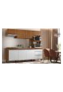 Cozinha Compacta Paola 8 Pt 2 Gv Branco E Marrom Claro
