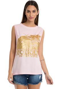 T-Shirt Moikana Estampa Com Glitter - Feminino-Rosa