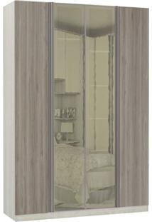 Guarda Roupa Modulado Espelhos Reflecta 4 Portas Emolduradas 3 Gavetas Nichos Colmeia 159Cm Prime Luciane Móveis Legno Crema/Nodo