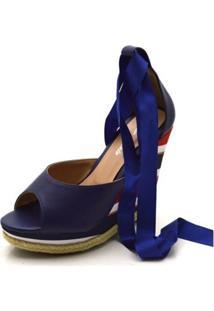 Sandália Anabela Com Tiras Paralelas Em Napa Azul Marinho E Salto Color - Kanui