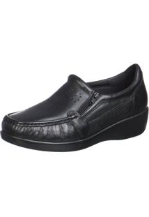 Sapato Doctor Pé Conforto Em Couro Preto 6868 Preto