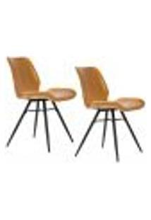 Kit 02 Cadeiras Para Sala De Jantar Cozinha Long Marrom Vintage Brown - Gran Belo