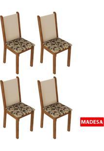 Kit 4 Cadeiras 4291 Madesa Rustic/Crema/Bege Marrom