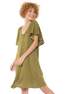 Vestido Cantão Curto Drapeados Verde