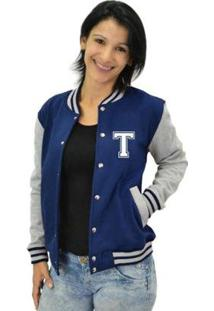 Jaqueta College Feminina Universitária Americana - Letra T - Feminino-Azul Escuro