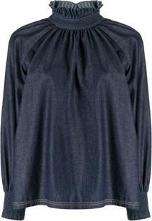 Fendi Blusa Jeans Com Babados Na Gola - Azul