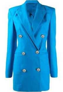 The Attico Vestido Blazer Com Abotoamento Duplo - Azul