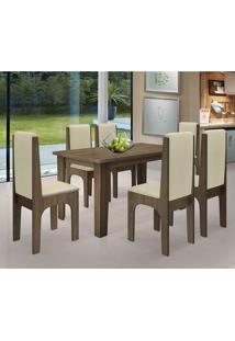Conjunto Mesa De Jantar Miami Com 6 Cadeiras Castanho/Bege Dobue