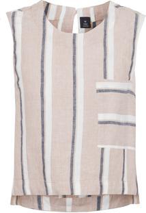 Regata Feminina Linen Striped Juta - Bege