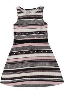 Vestido Infantil Authoria Malha Stripe Elements - Feminino-Preto