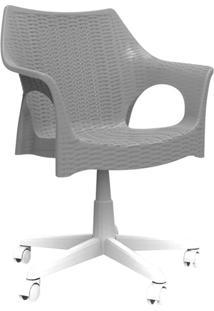 Cadeira Relic Office ( Rodízio Branco) Cinza Concreto