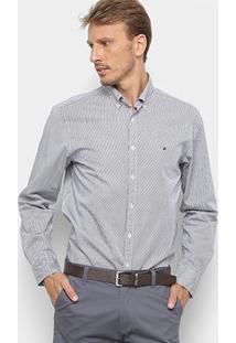 Camisa Manga Longa Tommy Hilfiger Masculina - Masculino-Cinza