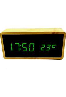 Relógio De Mesa Despertador Termômetro Madeira