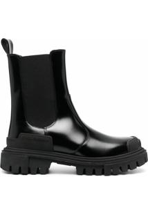Dolce & Gabbana Ankle Boot De Couro Com Solado Chunky - Preto
