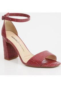 Sandália Feminina Textura Croco Salto Grosso Dakota - Feminino-Vinho