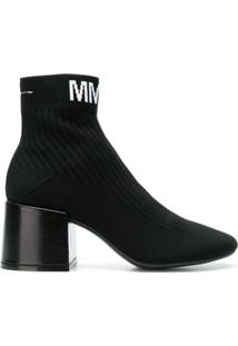 Mm6 Maison Margiela Ankle Boot Com Logo - Preto