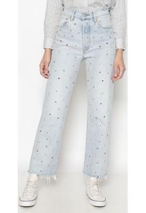 Jeans Ribcage Straight Ankle Com Pedrarias- Azul Claro Levis