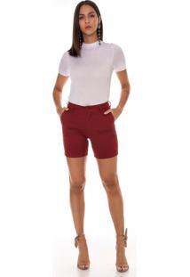 Bermuda Jeans Zait Meia Coxa Color Lisa Bordô Vermelho